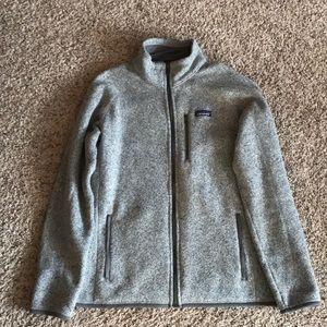 Patagonia Men's Better Sweater. Full zip, grey.